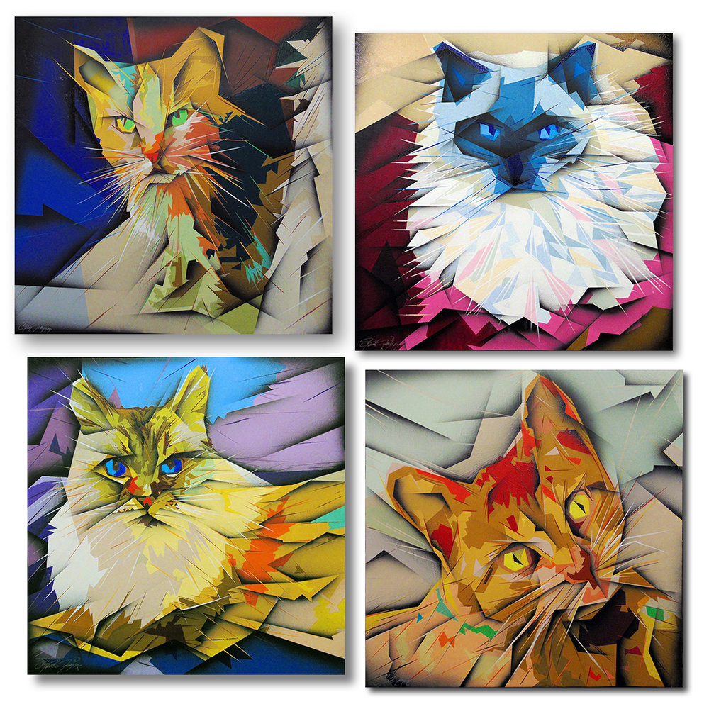 """Bojangles"", ""Iris"", ""Lily"" and ""Gracie"" - Individual portraits of pet cats (each 24""X24"")."
