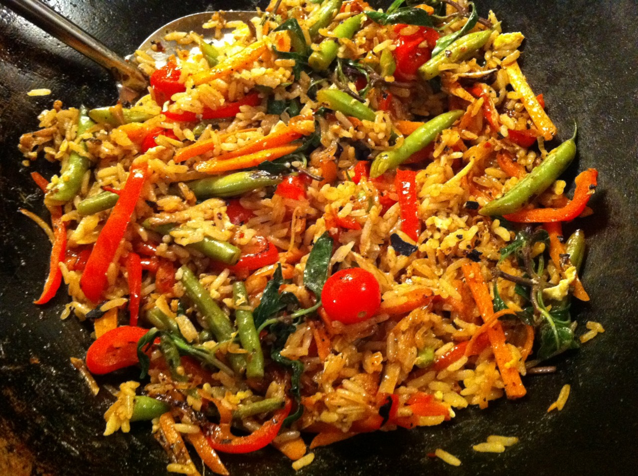 Thai-style Basil Fried Rice, quick and easy.