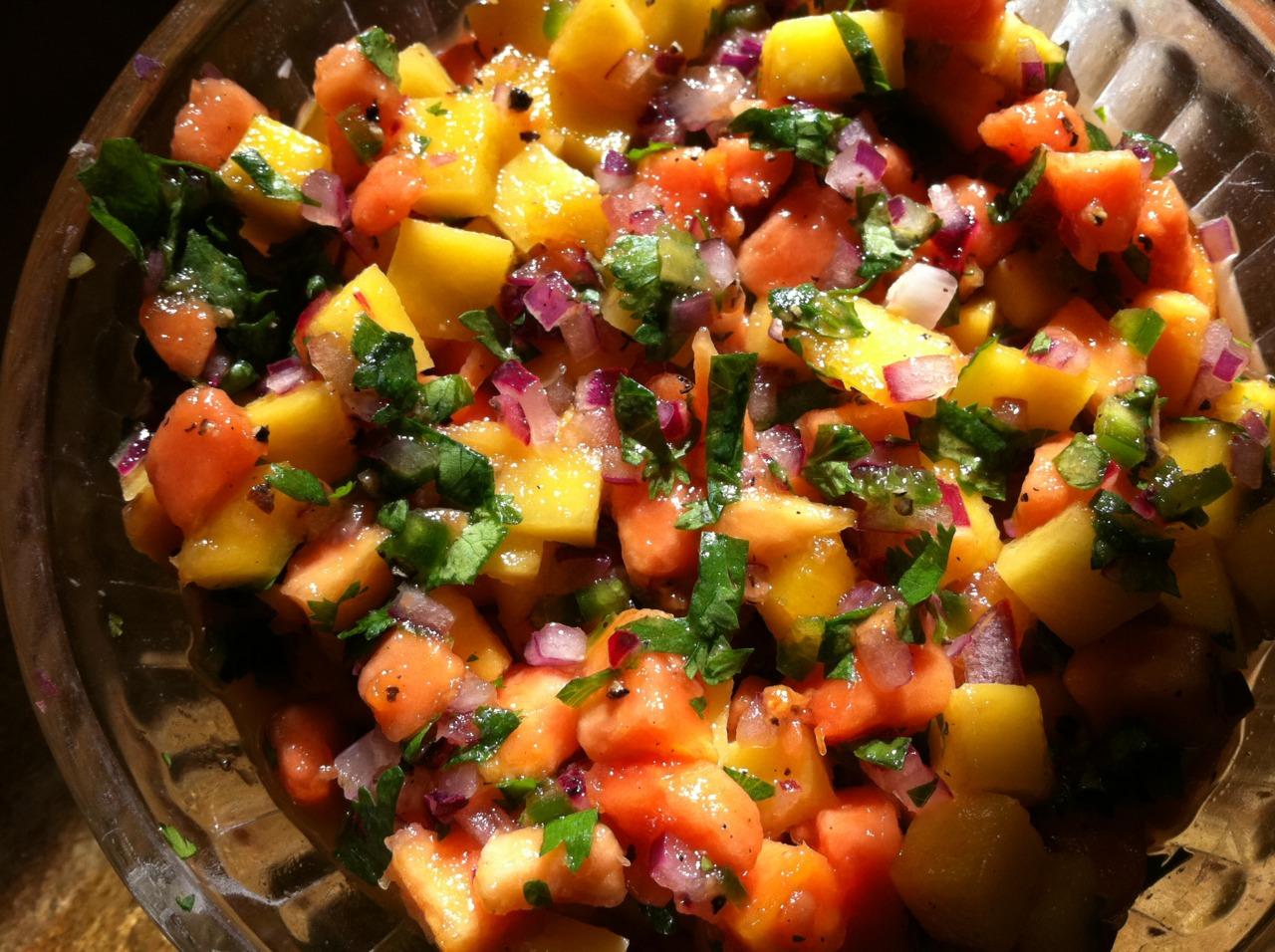 Mango & Papaya salsa.