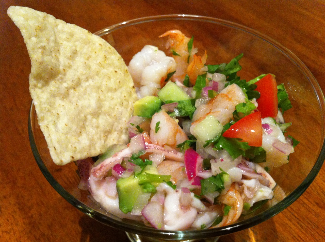 Ceviche we made at home, calamari and shrimp!