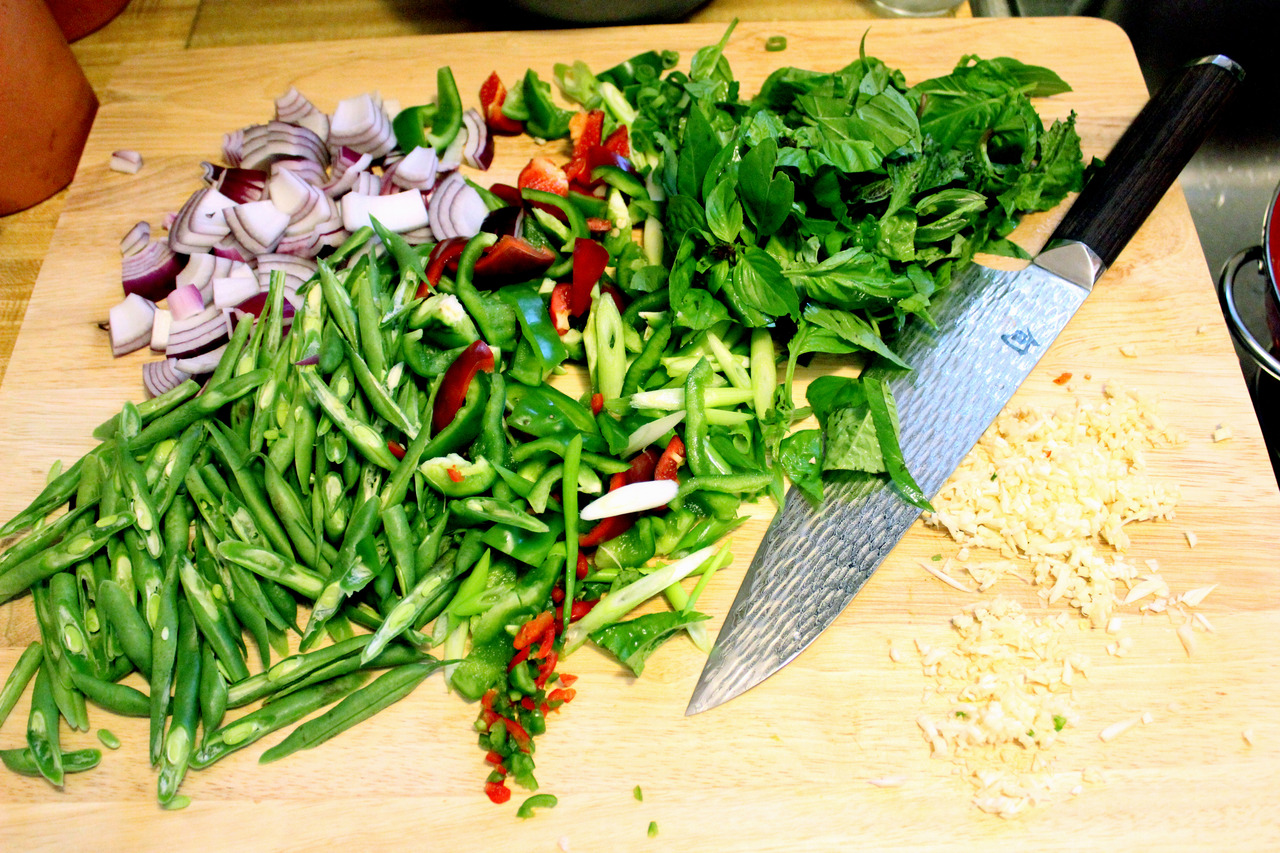 Basil Fried Rice prep