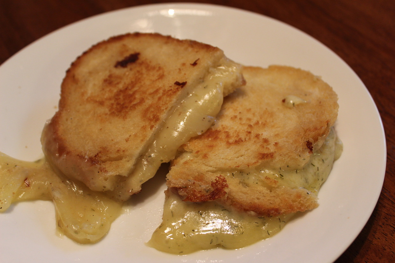 Grilled cheese made with homemade artisan bread and dill cheddar.