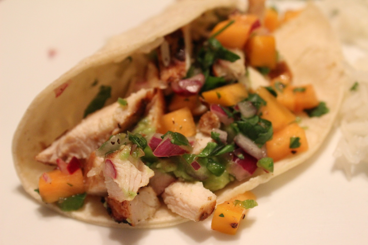 A delicious chicken taco with persimmon salsa, Shelby put this all together.