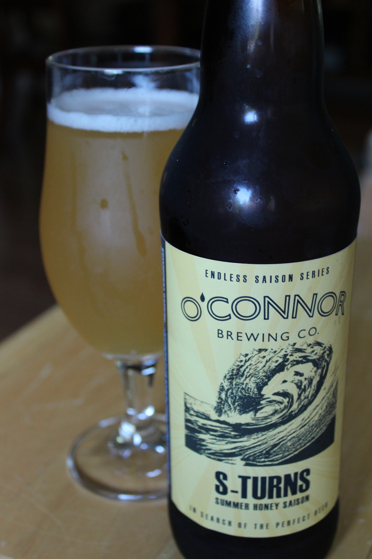 New beer from  O'Connor Brewing , Norfolk, VA. S-Turns Summer Honey Saison part of the Endless Saison Series.    i<3food