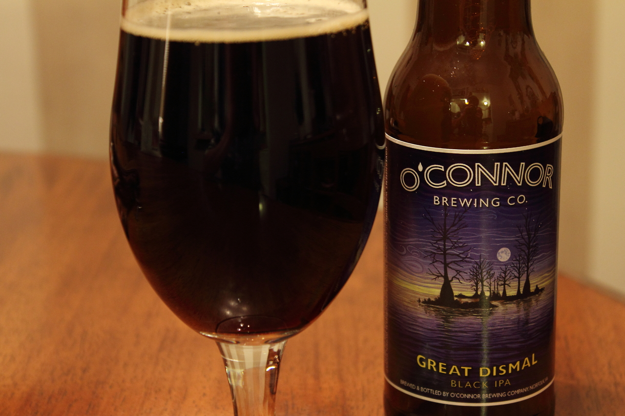 My favorite from  O'Connor Brewing Company , Norfolk, VA. Great Dismal Black IPA. Thank you :)