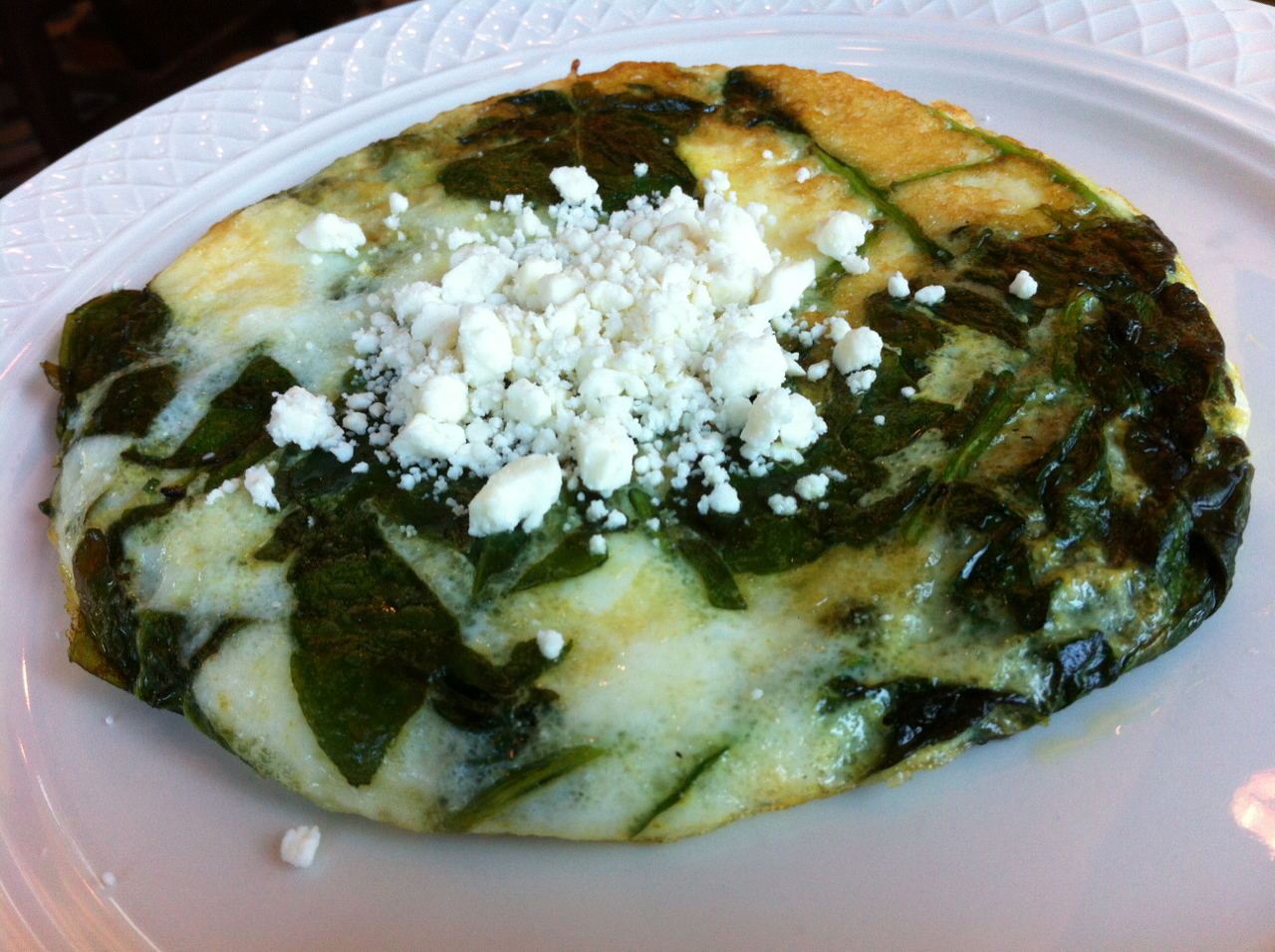 Egg White Spinach and feta frittata I had at my hotel recently. Very good.