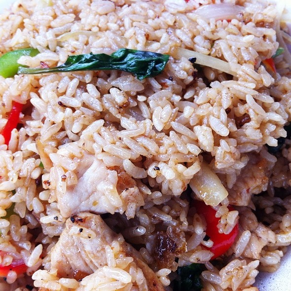 Pork Basil Fried Rice @ Thai Pan Restaurant    Came with two spring rolls too :)   Via  Foodspotting