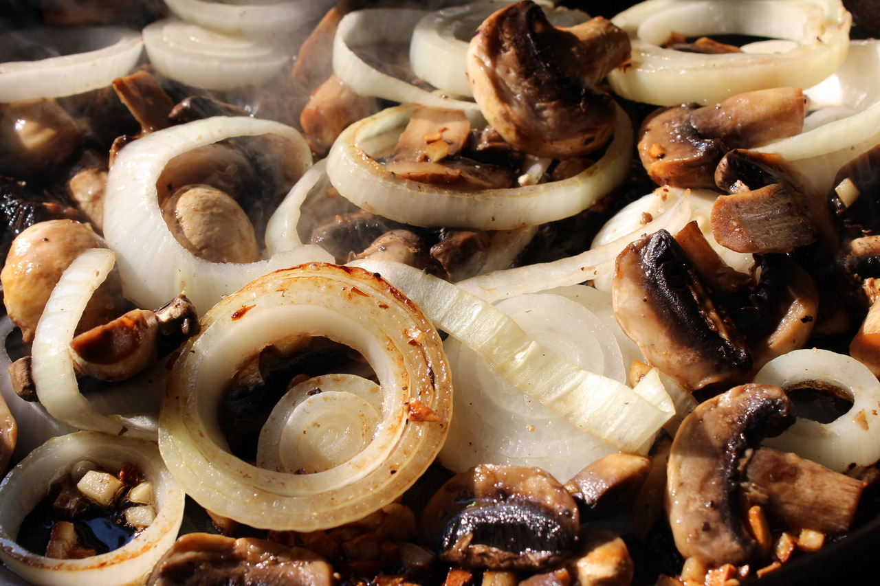 Sautéed mushrooms and onions for our steaks.