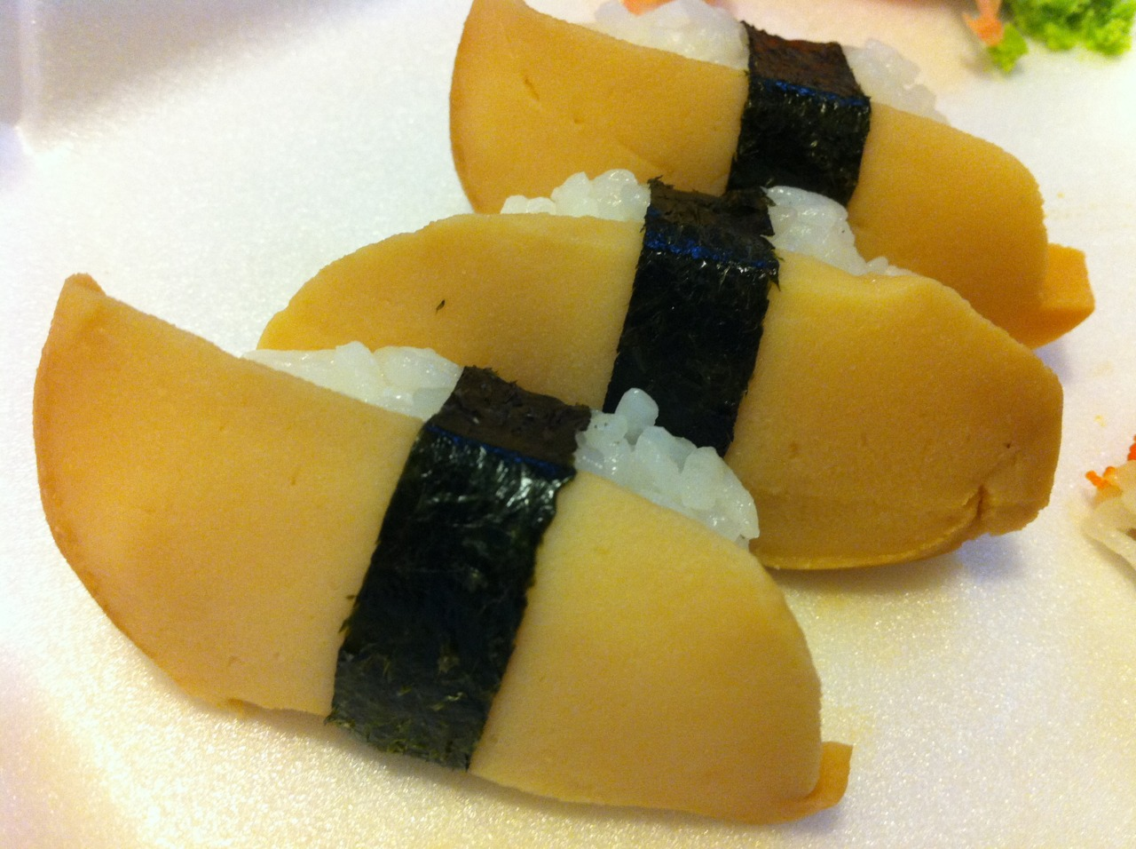 Our sushi chef made us a special treat last night, abalone! It was delicious, melted in my mouth.