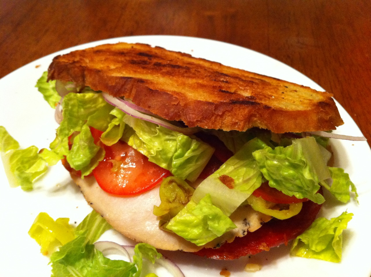 "Made a version of the classic ""Italian"" sandwich. I like to grab the slices the deli puts on discount, half the price and just as good."