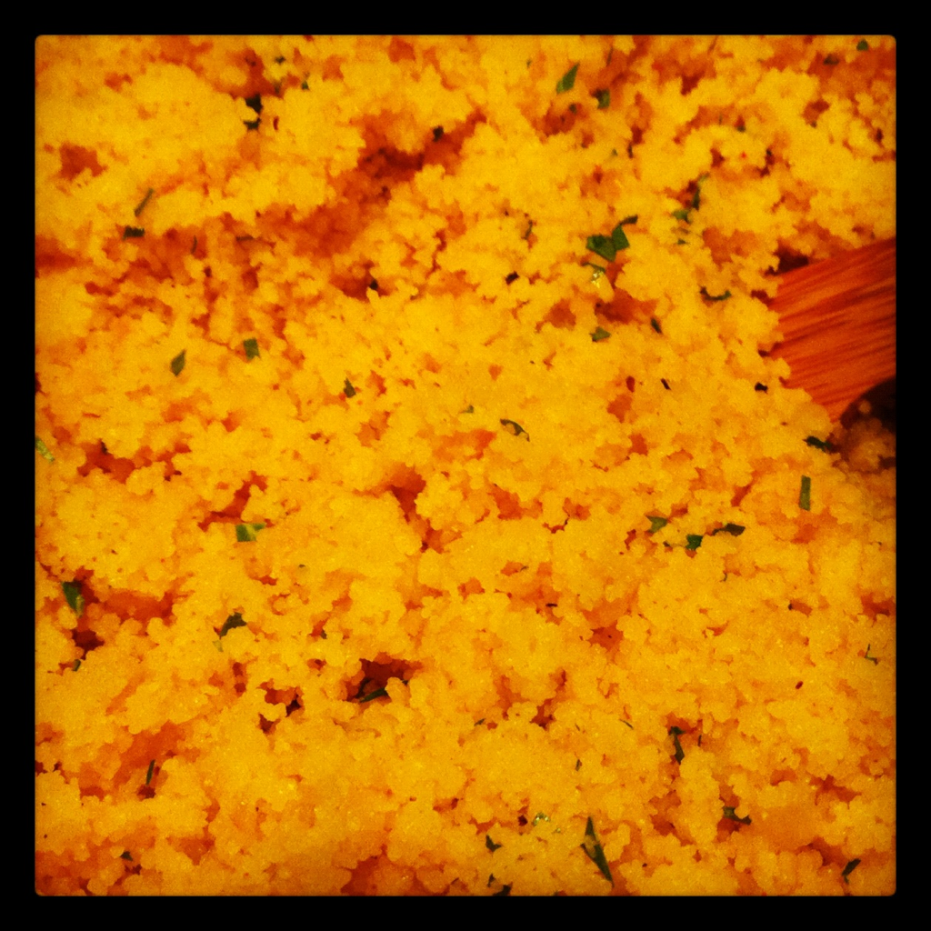 Golden Couscous. I added turmeric, cumin, red pepper, fresh parsley, and a few other spices and herbs. It came out great with a really nice color.