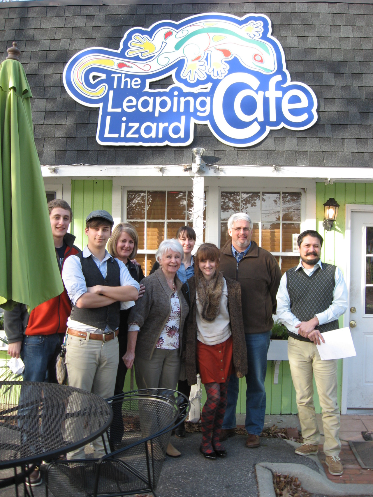 I am behind in posting holiday photos. Here is one with us at Leaping Lizard Cafe in Virginia Beach, VA.