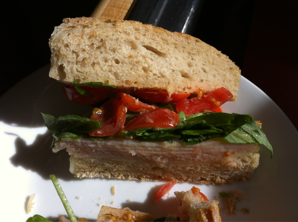 Turkey Caprese sandwich we made for lunch. Hit up the specials at the grocery store for bread and cheese.