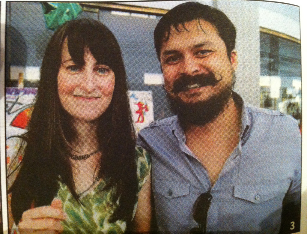 My wife and I at d'Art Center's 25th Anniversary, tasting local craft beer. georgeandshelby.com