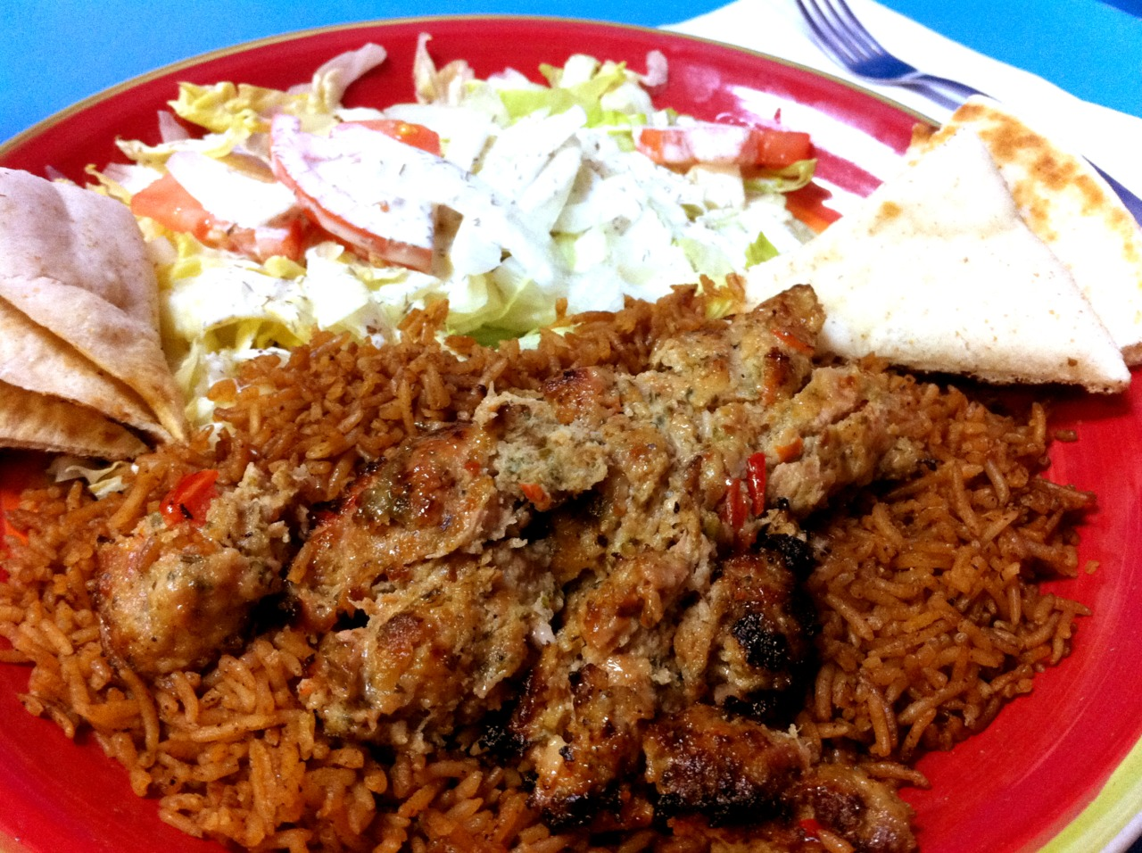 Chicken Adana with Basmati @ Kebab Shack, Norfolk, VA.   Kebab Shack is located in the former Zero's Subs store-front on Granby St. If you know me, you know I rave about this place. The food is good and the guys in the kitchen are friendly. If you want to try something different, give it a shot.