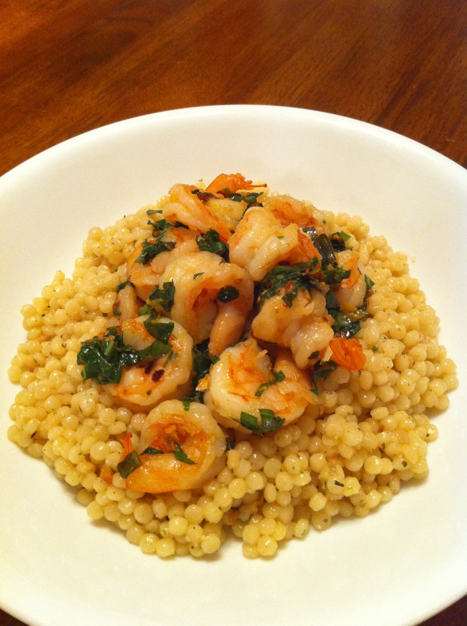 Chili, Lemon, and Basil Shrimp with Pearled (Israeli) Couscous recipe from The Kitchn. Click the link above to hop over there.