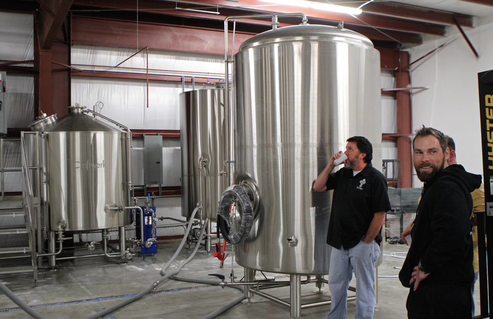 Justin MacDonald of Beach Brewing Company (foreground) giving us a tour of the new brewery.