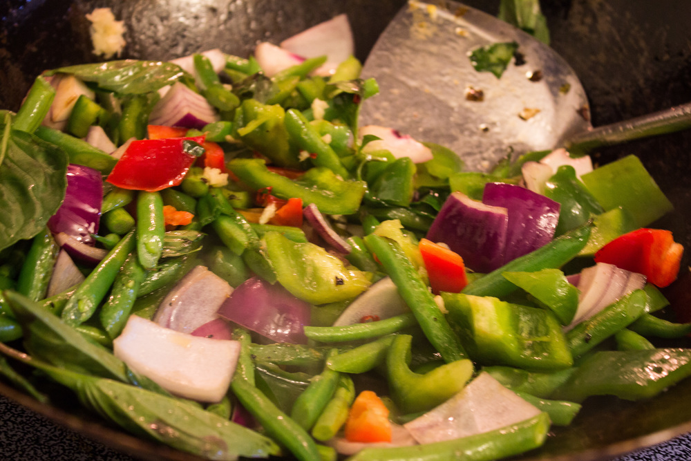 Stir fry the vegetables