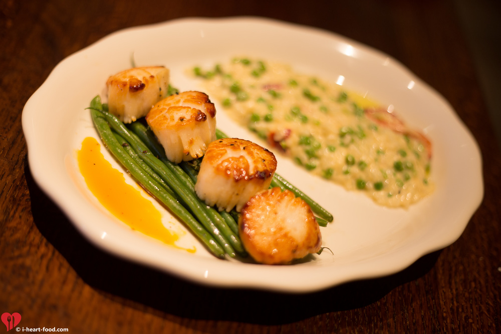 Pan-Seared Scallops with Brown Butter French Green Beans and Spring Green Pea Risotto