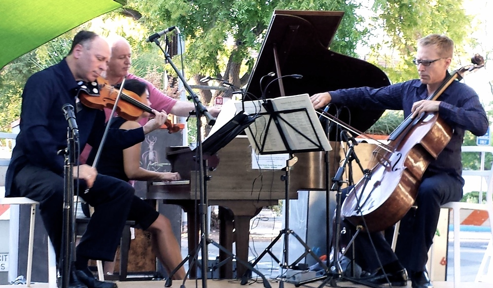 An enchanting evening making beautiful music with our dear friend, Fred Lifsitz, of the Alexander String Quartet, at the Los Altos Third Street Green.