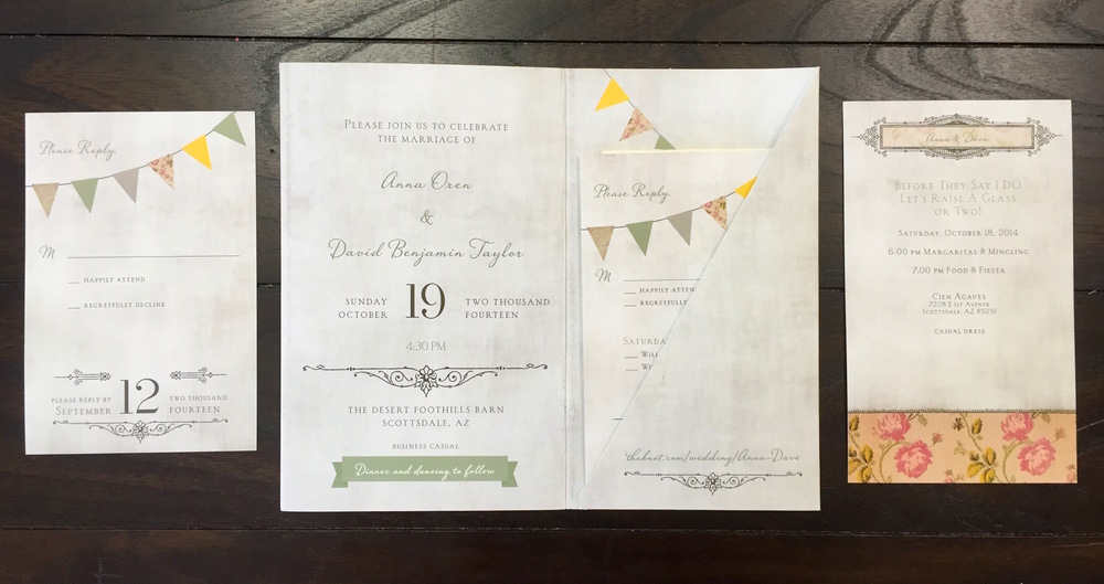 Scottsdale Wedding Invitation, Reply Card, Reception Card
