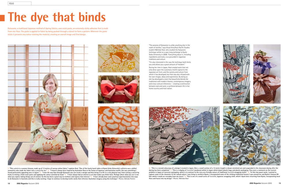 2010年、オーストラリア国立大学に出版されている「ANU REPORTER」の秋巻に作家紹介が載せられました。