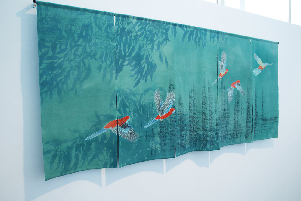 Call of the Crimson Rosellas  yuzen and katazome on vintage kimono silk, 2015
