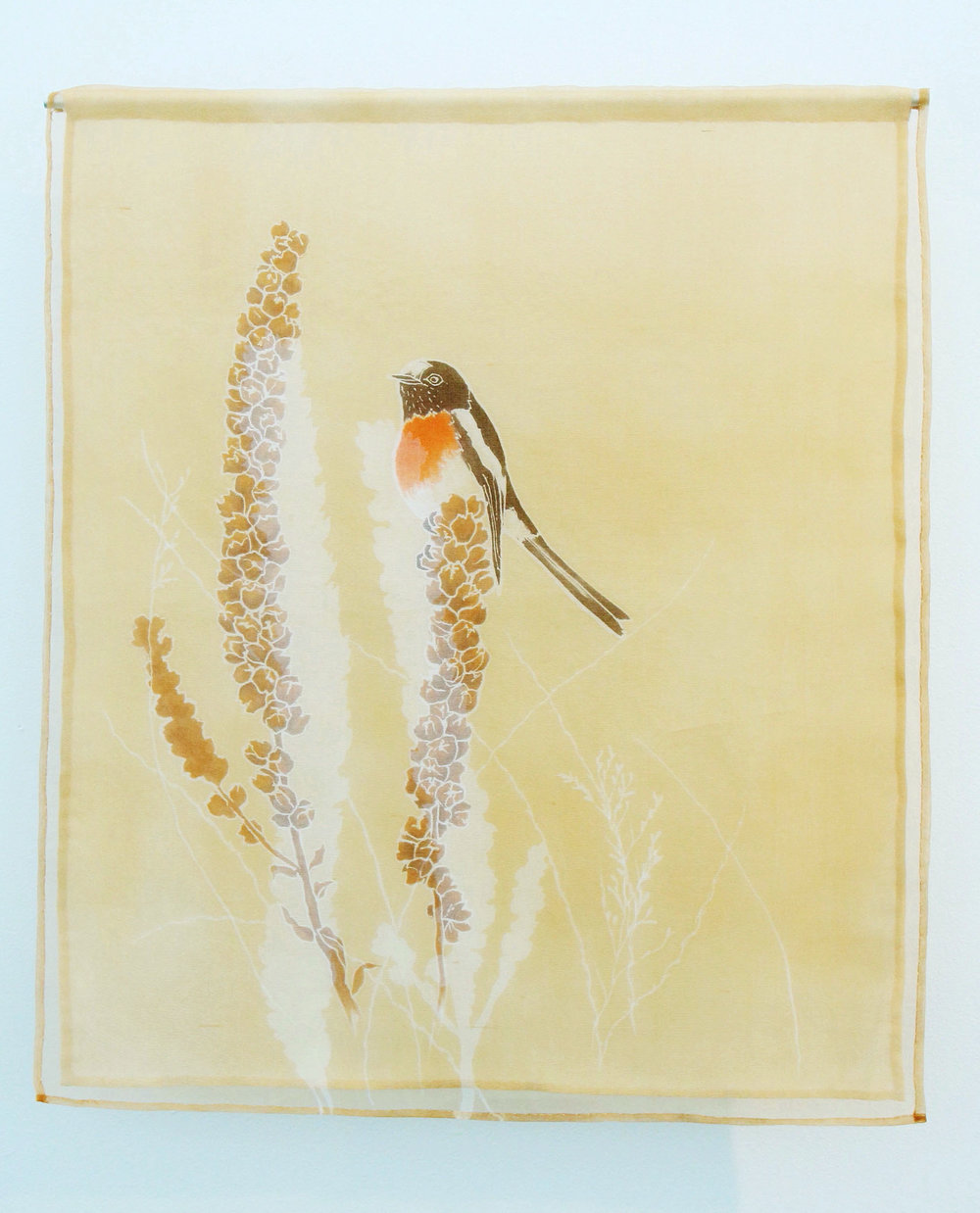Scarlet Robin   yuzen on silk organza, natural dye from Eucalyptus and chemical dyes, 2015