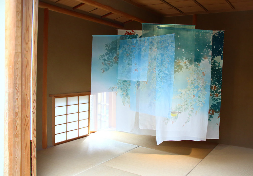 Canberra Blues  - on show at Galerie H20, Kyoto 2015. yuzen and katazome on various silks.