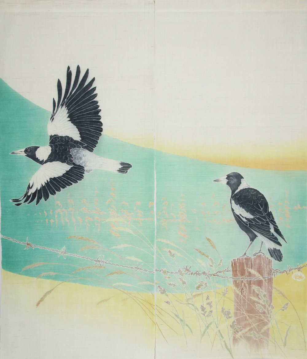 Australian Magpie Noren yuzen on linen 2017. A commissioned piece for a Japanese-style tearoom in Australia
