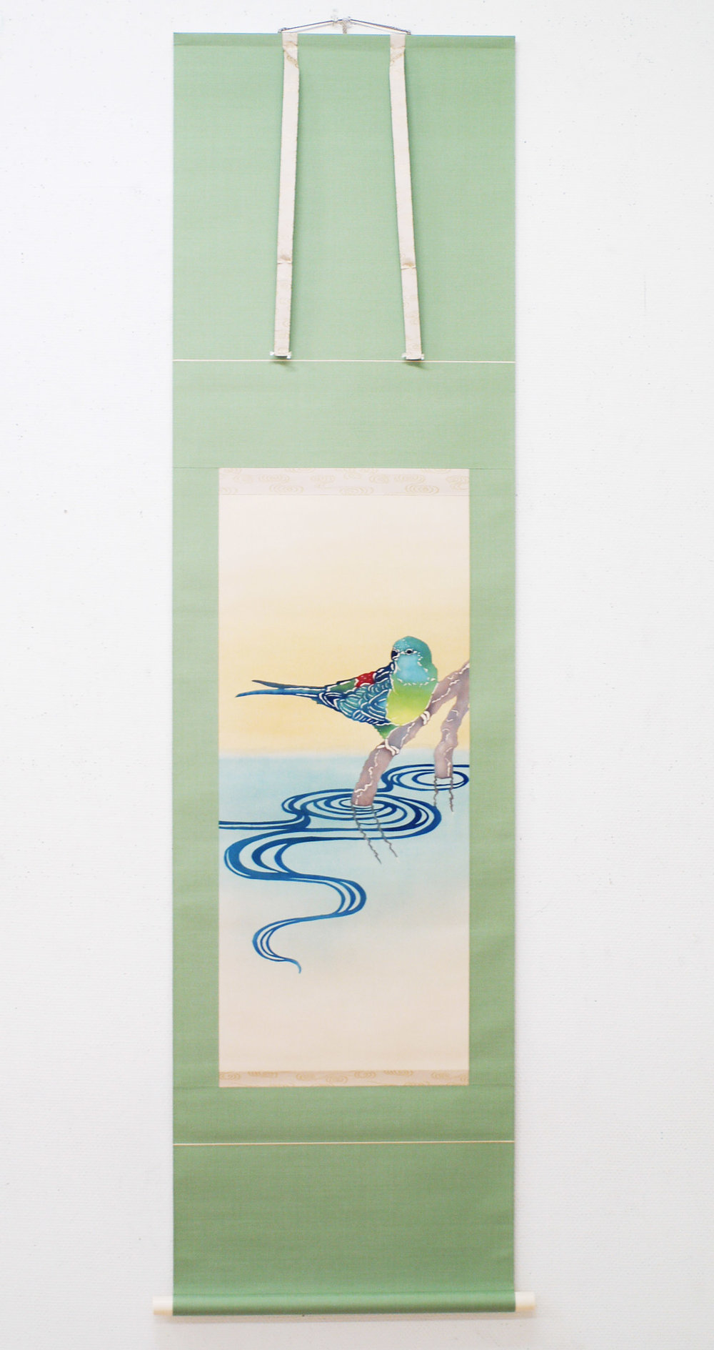 Red-rumped Parrot 2012.  Katazome on silk. Made into a professional scroll by local Kyoto family-run business.