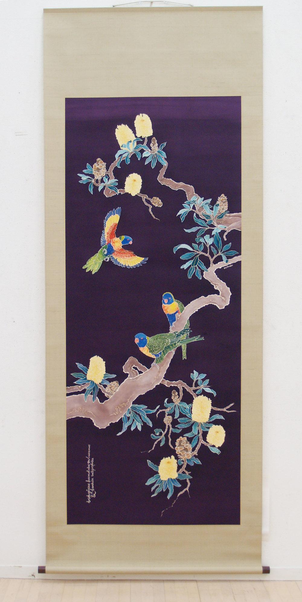Rainbow Lorikeet & Coast Banksia Scroll  2012 Yuzen on silk.