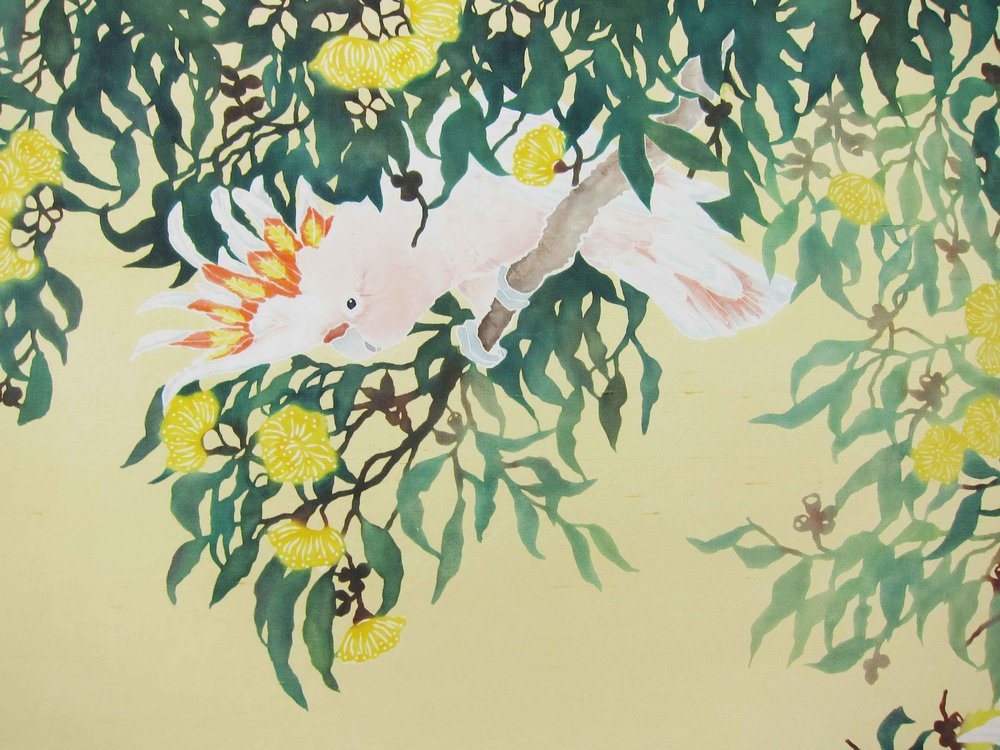 Major Mitchell's Cockatoos (detail) 2012 yuzen and katazome on Hakusan Tsumugi Silk.