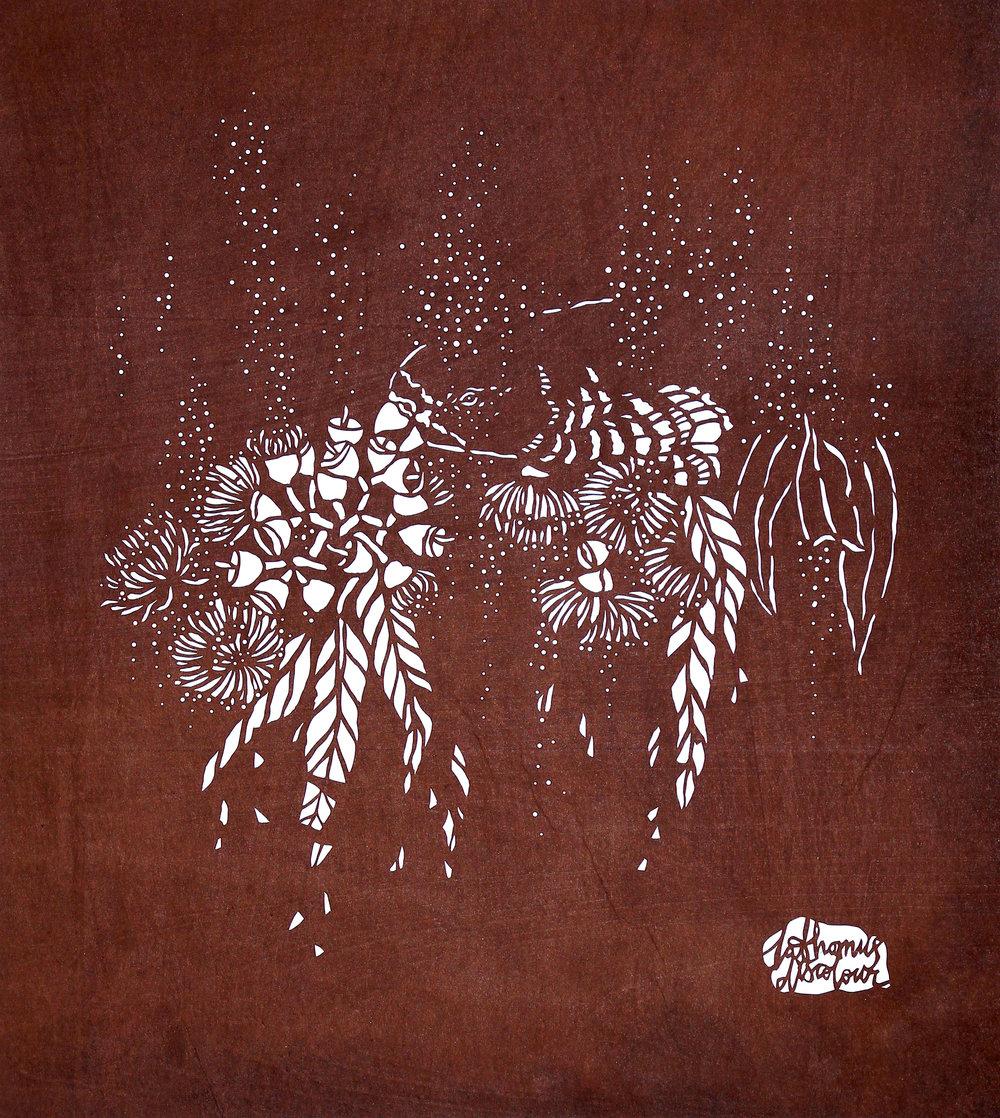 Swift Parrot - katagami stencil. 2014.