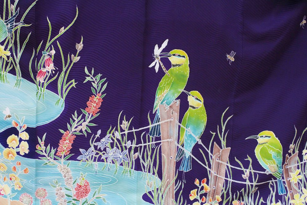 Hem detail of Rainbow Bee-Eater Furisode (long-sleeved kimono) 2013. Yuzen on self-patterned silk.