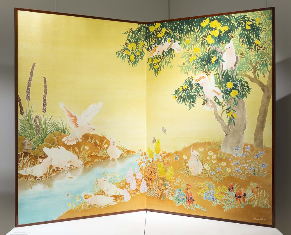 Major Mitchell's Cockatoos 2012 yuzen and katazome on Hakusan Tsumugi Silk. Made into a professional folding screen by local Kyoto family-run business. Photo by Document Photography