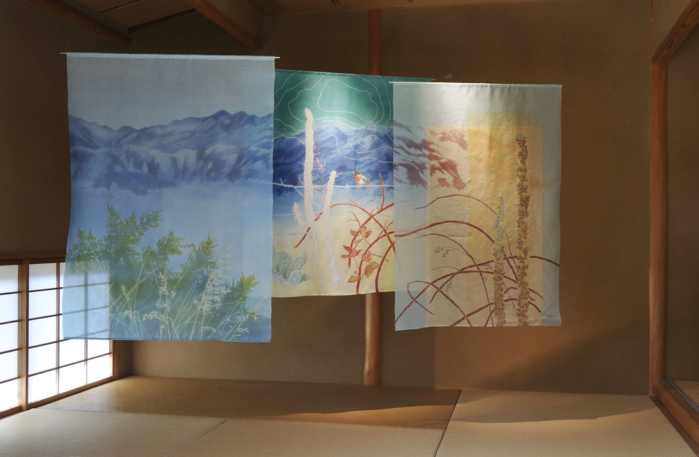 Narrabundah Hill,  katazome & yuzen on silk organza and silk crepe. On display at Galerie H20 in Kyoto, Solo Exhibition 2017