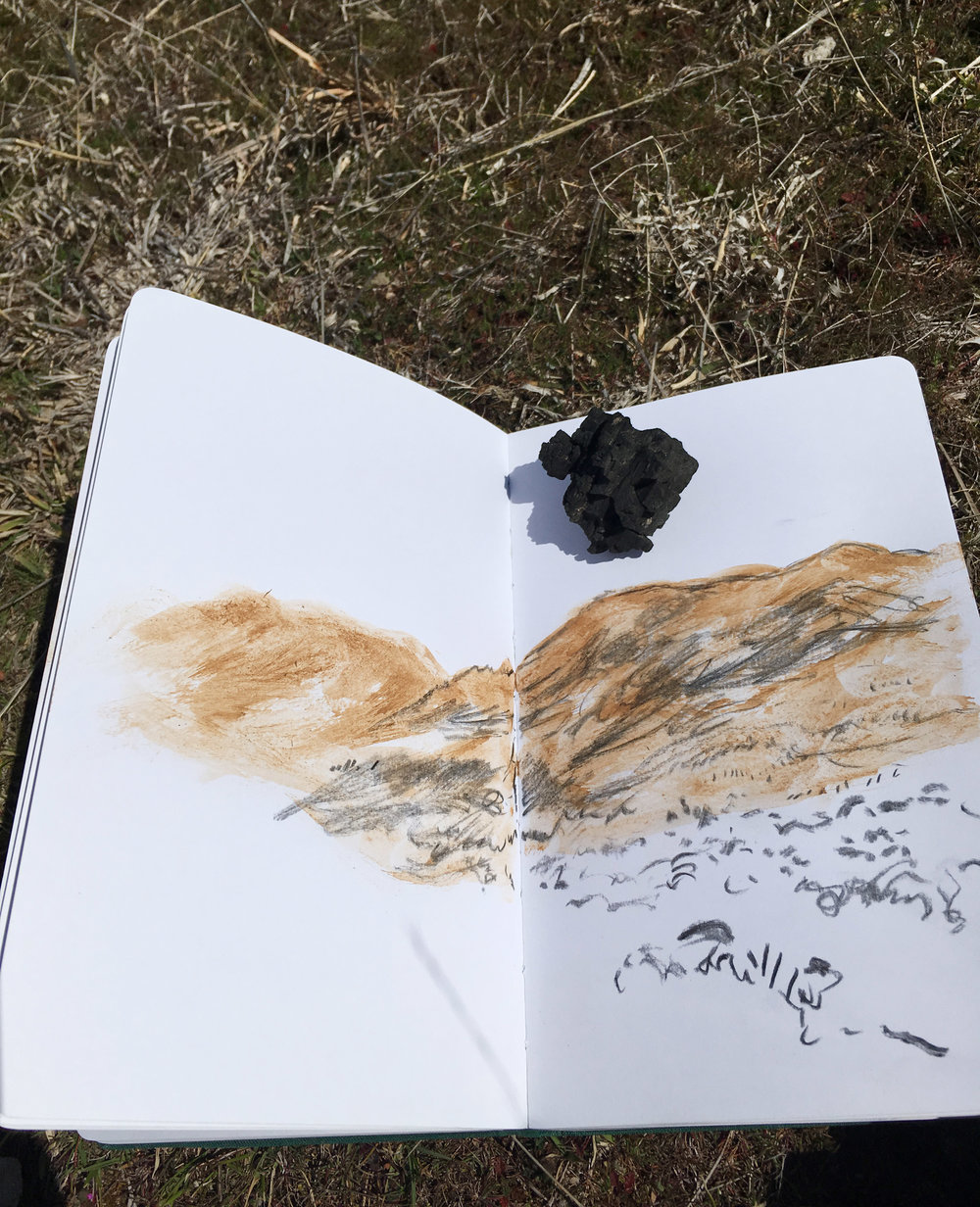 field drawing using clay soil rubbed with wet fingers and a scavenged piece of burnt log as charcoal, 2017, Tidbinbilla Nature Reserve.