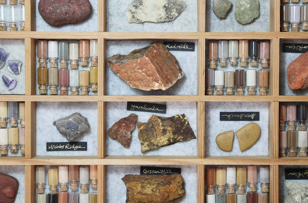 """Tiny Museum of Natural Pigments"" 2018 wooden box, glass vials, collected colours from stone, soil, ash, shells. An on-going experiment to document the colours of my local area."