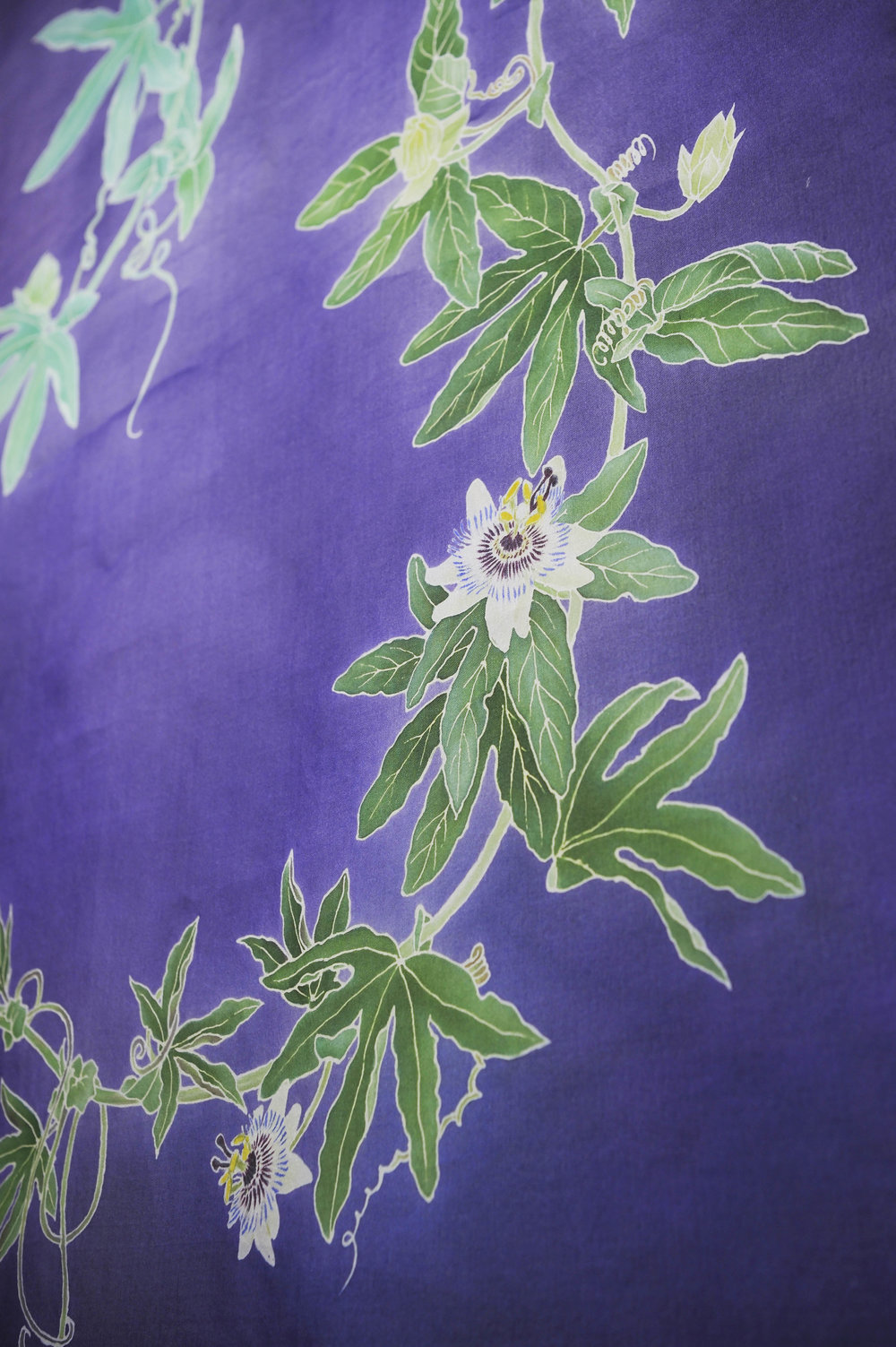 """""""Blue Passionflower"""" 2016. Yuzen on organza."""