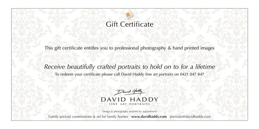 Gift Certificates David Haddy Fine Art Portraits