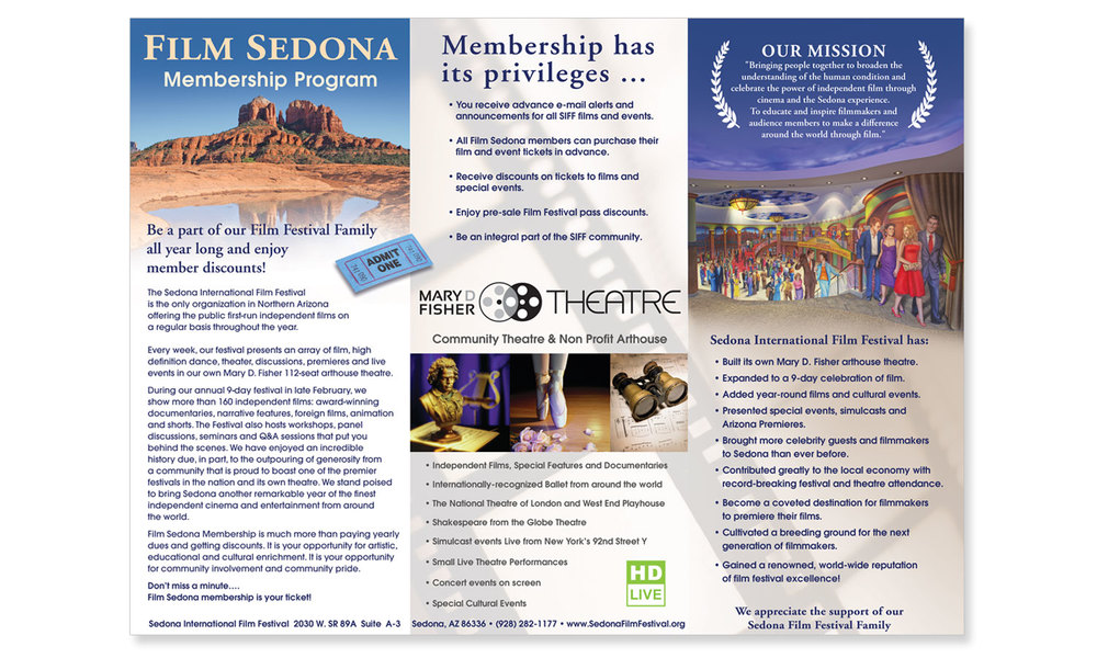 Brochure Design Sedona Film Festival and Mary Fisher Theater