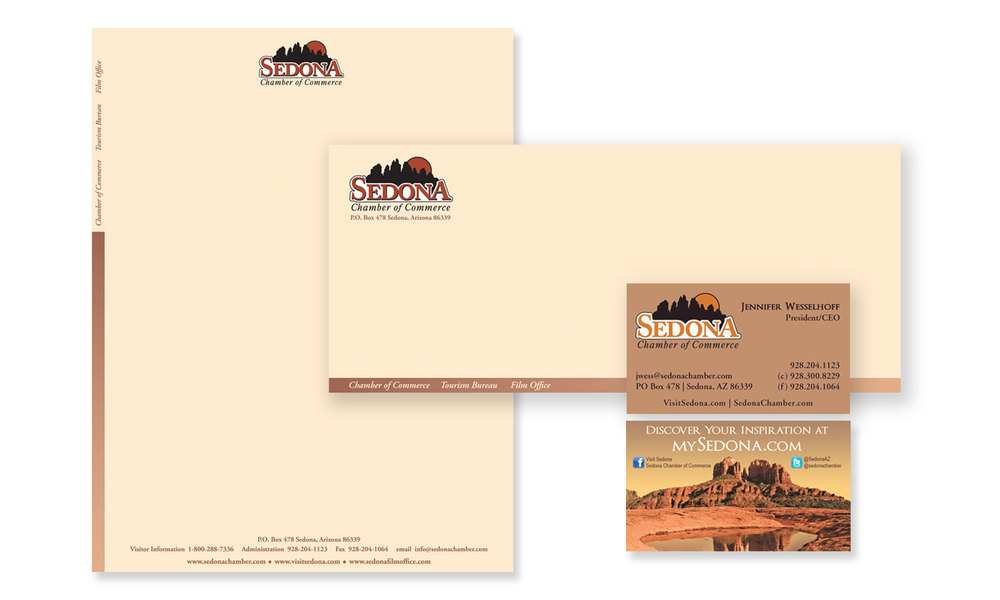 Letter head and Business card Design for Sedona Tourism.