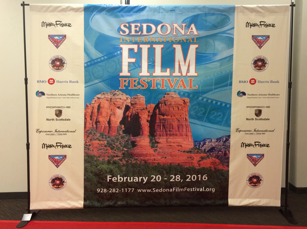 2016 Sedona International Film Festival red carpet back drop. Printed by Sedona Advertising Agency. Large format printing specialists!