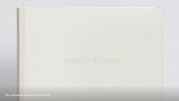 fine art wedding album cover white leather with embossed names quality