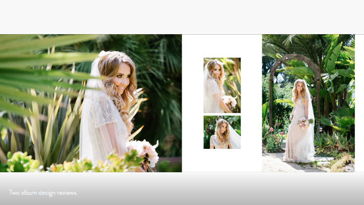 fine art wedding album beautiful bride in garden layout spread