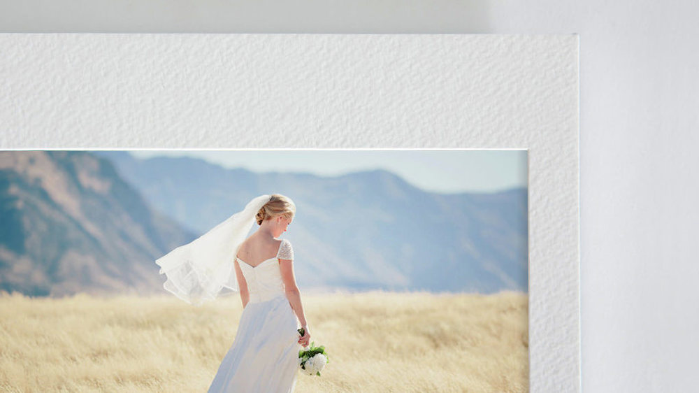 close up fine art wedding album overlay matt beautiful bride mountains sun