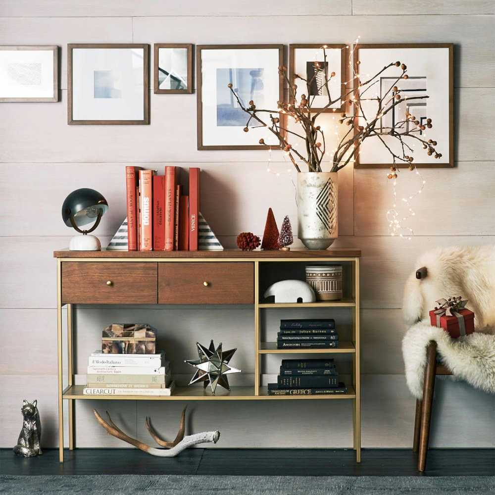 black fine art frame collection on wall in line