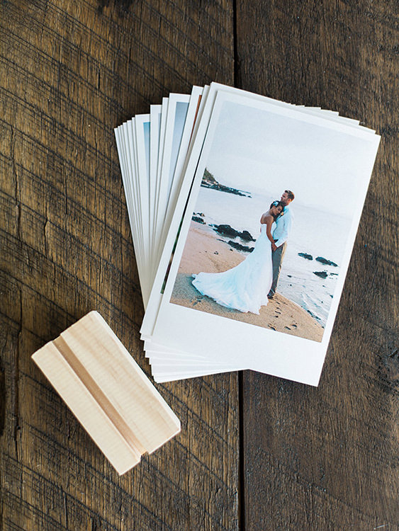 your wedding images in a small desktop stand read to show off in your office or kitchen