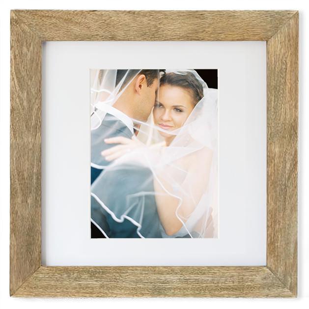 fine art wedding picture frame rustic wooden bride under veil